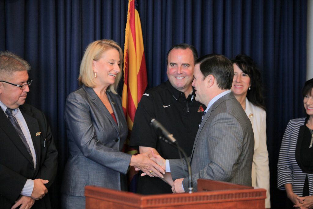 Mayor with Gov. Ducey at Cactus League Press Conference