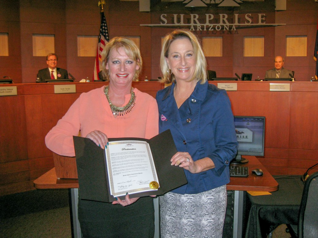 Surprise Mayor Sharon Wolcott with Cobalt Rehabilitation Hospital CEO Sharon Noe